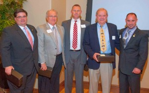The Oklahoma State Home Builders Association leadership recognized the contribution of several committee chairs, from left, home builders Tony Foust of Norman, Roger Gose of Stillwater, Curtis McCarty of Norman, Carter Foree of Oklahoma City and Jeff Click, who lives in Edmond.