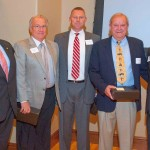 The Oklahoma State Home Builders Association leadership recognized the contribution of several committee chairs at its recent banquet. From left are home builders Tony Foust of Norman, Roger Gose of Stillwater, Curtis McCarty of Norman, Carter Foree of Oklahoma City and Jeff Click, who lives in Edmond.