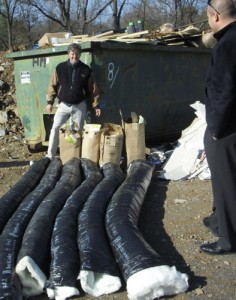 Here's a good example of waste: In Pennsylvania, Scott Sedam pulled more than 80 feet of perfectly good insulated ductwork out of a jobsite Dumpster. The