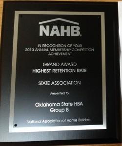NAHB membership plaque grand award to OSHBA for highest retention