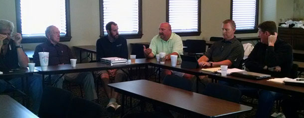 OSHBA leaders contemplate the 2015 Building Summit at a recent meeting.
