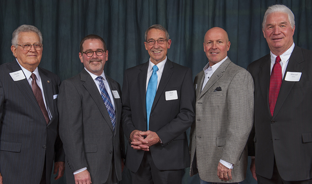 More than half of the attendees at the recent state banquet were of Tulsa, among them longtime home builders and state leaders, from left, Charles Gilmore, Greater Tulsa Executive Vice President/CEO Paul Kane; Associates Dave Sanders and Mark Priess, and longtime builder Howard Kelsey.