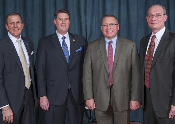 2015 Senior Officers, from left, Vice President/Treasurer Kurt Dinnes of COHBA, President Phil Rhees of Greater Tulsa, Vice President/Secretary Dan Reeves, Immediate Past President Todd Booze of BASCO