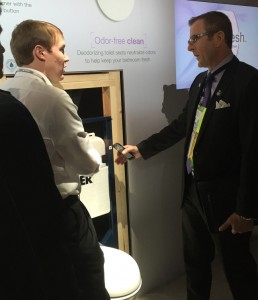 Kurt Dinnes with Kohler representative at the IBS show in January.