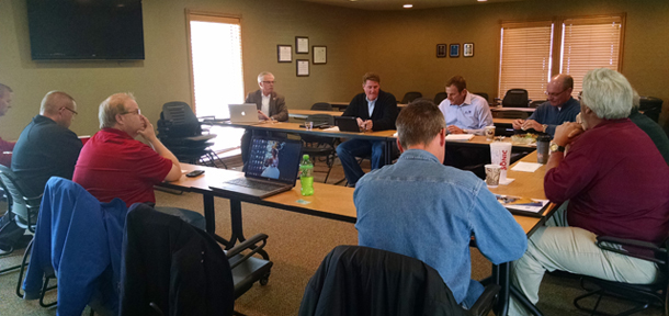 OSHBA leaders conduct a planning meeting for the 2015 Oklahoma Building Summit.