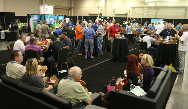 The Expo hall was a center of networking during the 2015 Oklahoma Building Summit & Expo.