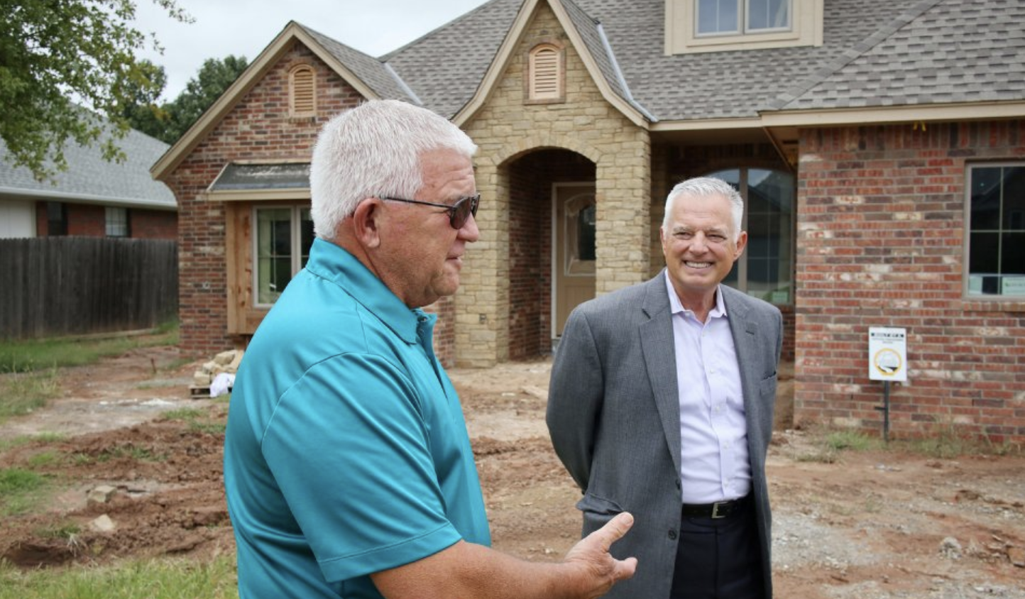 Builder Confidence At 12 Year High Oshba Home Dodge Neon Wiring Diagram Dakota Radio Free Picture Jim Campbell Of Homes Left And Mike Means Executive Vice President The Oklahoma State Builders Association Stand Outside A